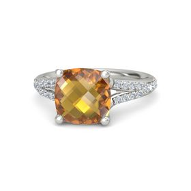 Checkerboard Cushion Double-sided Citrine 14K White Gold Ring with Diamond