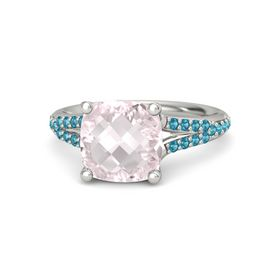 Checkerboard Cushion Double-sided Rose Quartz 14K White Gold Ring with London Blue Topaz