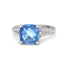Checkerboard Cushion Double-sided Blue Topaz 14K White Gold Ring with White Sapphire