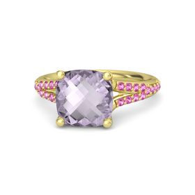 Checkerboard Cushion Double-sided Rose de France 14K Yellow Gold Ring with Pink Sapphire