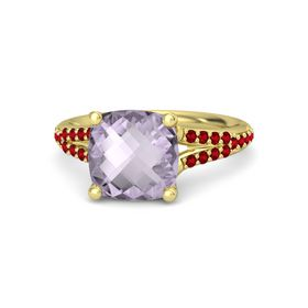 Checkerboard Cushion Double-sided Rose de France 14K Yellow Gold Ring with Ruby
