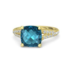 Checkerboard Cushion Double-sided London Blue Topaz 14K Yellow Gold Ring with Diamond