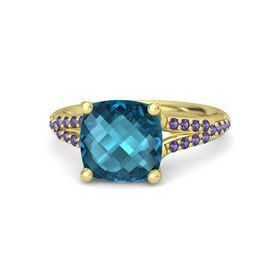 Checkerboard Cushion Double-sided London Blue Topaz 14K Yellow Gold Ring with Iolite
