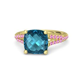 Checkerboard Cushion Double-sided London Blue Topaz 14K Yellow Gold Ring with Pink Tourmaline