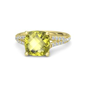 Checkerboard Cushion Double-sided Lemon Quartz 14K Yellow Gold Ring with Diamond