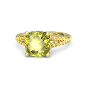 Checkerboard Cushion Double-sided Lemon Quartz 14K Yellow Gold Ring with Citrine