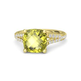 Checkerboard Cushion Double-sided Lemon Quartz 14K Yellow Gold Ring with White Sapphire