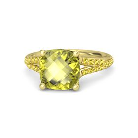 Checkerboard Cushion Double-sided Lemon Quartz 14K Yellow Gold Ring with Yellow Sapphire