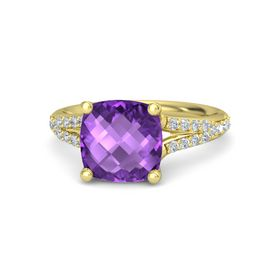 Checkerboard Cushion Double-sided Amethyst 14K Yellow Gold Ring with Diamond