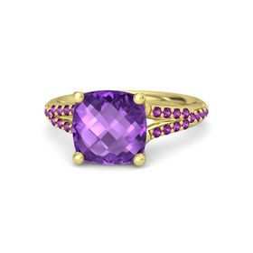 Checkerboard Cushion Double-sided Amethyst 14K Yellow Gold Ring with Rhodolite Garnet