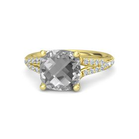 Checkerboard Cushion Double-sided Rock Crystal 14K Yellow Gold Ring with Diamond