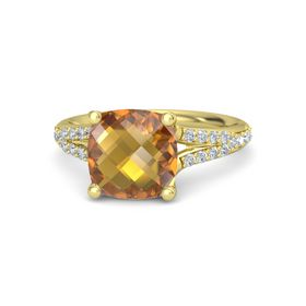 Checkerboard Cushion Double-sided Citrine 14K Yellow Gold Ring with Diamond