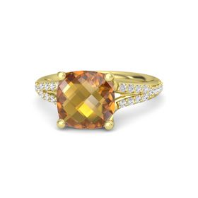 Checkerboard Cushion Double-sided Citrine 14K Yellow Gold Ring with White Sapphire