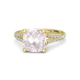 Checkerboard Cushion Double-sided Rose Quartz 14K Yellow Gold Ring with Diamond