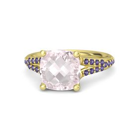 Checkerboard Cushion Double-sided Rose Quartz 14K Yellow Gold Ring with Iolite