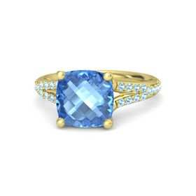 Checkerboard Cushion Double-sided Blue Topaz 14K Yellow Gold Ring with Aquamarine