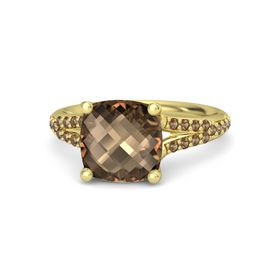 Checkerboard Cushion Double-sided Smoky Quartz 14K Yellow Gold Ring with Smoky Quartz