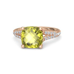 Checkerboard Cushion Double-sided Lemon Quartz 18K Rose Gold Ring with Diamond