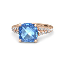 Checkerboard Cushion Double-sided Blue Topaz 18K Rose Gold Ring with Diamond