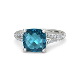 Checkerboard Cushion Double-sided London Blue Topaz 18K White Gold Ring with Diamond
