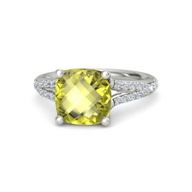 Checkerboard Cushion Double-sided Lemon Quartz 18K White Gold Ring with Diamond