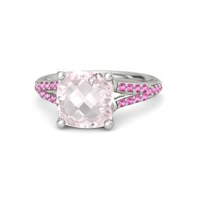 Checkerboard Cushion Double-sided Rose Quartz 18K White Gold Ring with Pink Sapphire