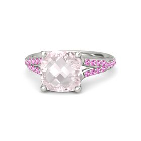 Checkerboard Cushion Double-sided Rose Quartz 18K White Gold Ring with Pink Tourmaline