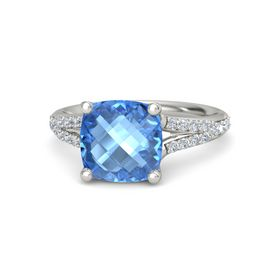 Checkerboard Cushion Double-sided Blue Topaz 18K White Gold Ring with Diamond