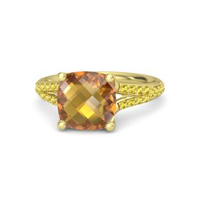 Checkerboard Cushion Double-sided Citrine 18K Yellow Gold Ring with Yellow Sapphire