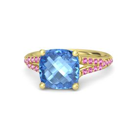 Checkerboard Cushion Double-sided Blue Topaz 18K Yellow Gold Ring with Pink Sapphire