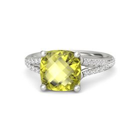 Checkerboard Cushion Double-sided Lemon Quartz Palladium Ring with White Sapphire