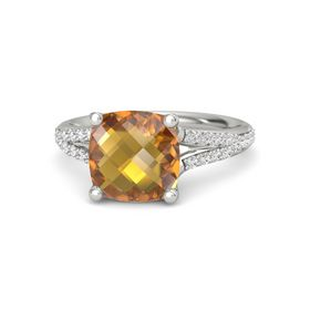 Checkerboard Cushion Double-sided Citrine Palladium Ring with White Sapphire
