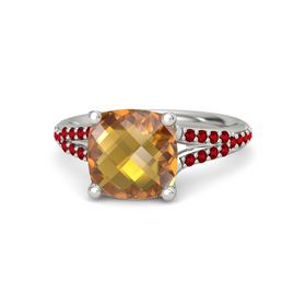 Checkerboard Cushion Double-sided Citrine Palladium Ring with Ruby