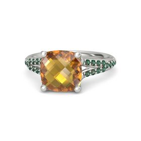 Checkerboard Cushion Double-sided Citrine Palladium Ring with Alexandrite