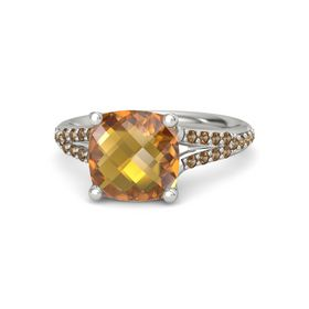 Checkerboard Cushion Double-sided Citrine Palladium Ring with Smoky Quartz