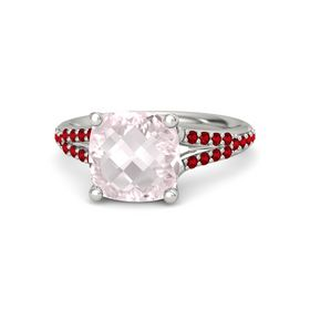 Checkerboard Cushion Double-sided Rose Quartz Palladium Ring with Ruby