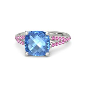 Checkerboard Cushion Double-sided Blue Topaz Palladium Ring with Pink Sapphire
