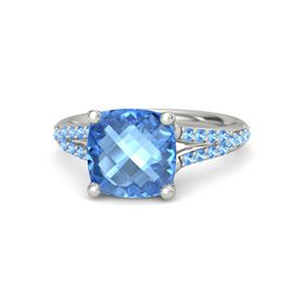 Checkerboard Cushion Double-sided Blue Topaz Palladium Ring with Blue Topaz