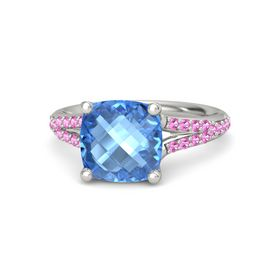 Checkerboard Cushion Double-sided Blue Topaz Palladium Ring with Pink Tourmaline
