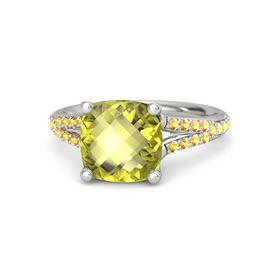 Checkerboard Cushion Double-sided Lemon Quartz Platinum Ring with Citrine