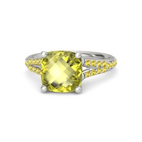 Checkerboard Cushion Double-sided Lemon Quartz Platinum Ring with Yellow Sapphire