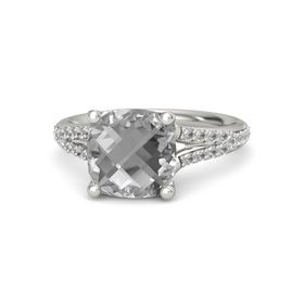 Checkerboard Cushion Double-sided Rock Crystal Platinum Ring with Rock Crystal
