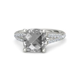 Checkerboard Cushion Double-sided Rock Crystal Platinum Ring with Diamond