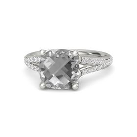 Checkerboard Cushion Double-sided Rock Crystal Platinum Ring with White Sapphire