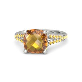 Checkerboard Cushion Double-sided Citrine Platinum Ring with Citrine