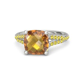 Checkerboard Cushion Double-sided Citrine Platinum Ring with Yellow Sapphire