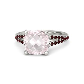 Checkerboard Cushion Double-sided Rose Quartz Platinum Ring with Red Garnet