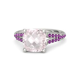 Checkerboard Cushion Double-sided Rose Quartz Platinum Ring with Rhodolite Garnet