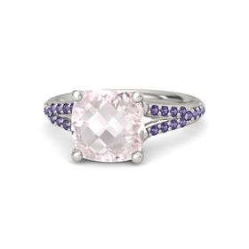 Checkerboard Cushion Double-sided Rose Quartz Platinum Ring with Iolite