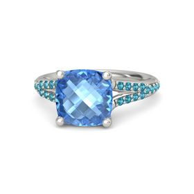 Checkerboard Cushion Double-sided Blue Topaz Platinum Ring with London Blue Topaz